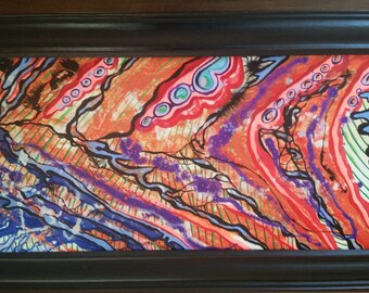 Abstract, Enamel on Wood panel, custom frame