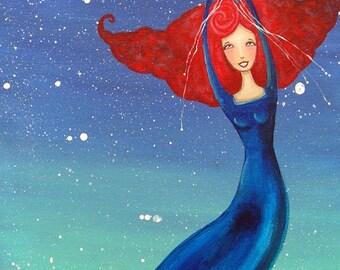 Painting Original Mixed Media Acrylic Take me to the stars. 12 x 24 Denise Baldwin oddimagination Whimsical