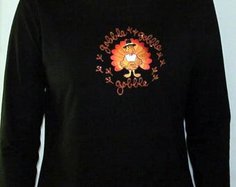 Thanksgiving Turkey Gobble Shirt Custom Women's Cute Fun Cool Hand painted Bling Long Sleeve V-neck T shirt Cindy's Handmade Shirts Boutique