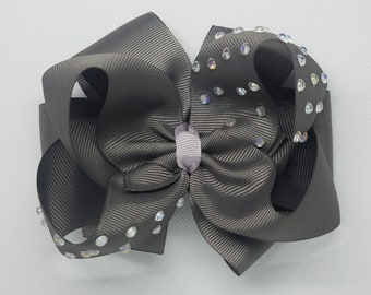Hair Bow - Gray - Stacked Boutique Bow - dazzling