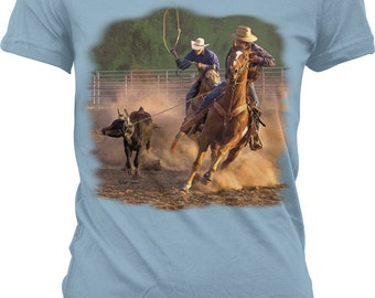 Ropin on the Ranch, Cowboys, Cowgirls Juniors T-shirt, NOFO_00393