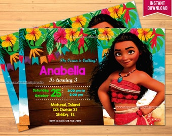 Moana Invitation - INSTANT DOWNLOAD - EDITABLE text you personalize at home - High Resolution - Holiday Party