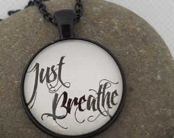 Just Breathe Cabochon Pendant Necklace in Black Metal