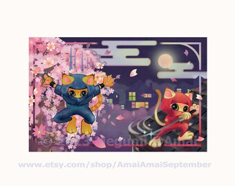"""Set of 4 or 6 - 5x7"""" Ninja Kitties & Cherry Blossoms Folded or Flat Double-sided Cards, matching Envelopes, Stickers - cute cat sword katana"""