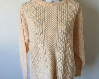 Vintage 80's/90's pastel sweater/ peach color sweater/vintage pastel sweater