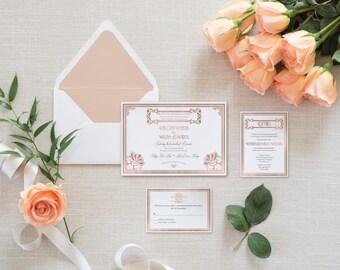 Roaring 20's Rose Gold Foil Wedding Invitation Set