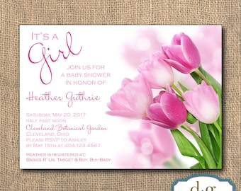 Pink Tulip Baby Shower Invitation - 5x7 PRINTABLE