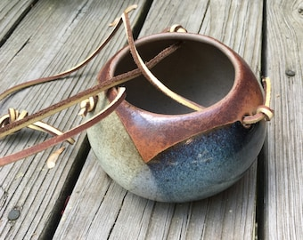 Hanging Pottery Planter, Small Pot, Vintage Pottery, Brown, Blue, Gray