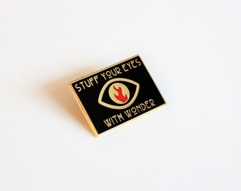 "Stuff Your Eyes with Wonder Red Gold Black 1"" Fahrenheit 451 hard enamel, book lover, literary gifts"