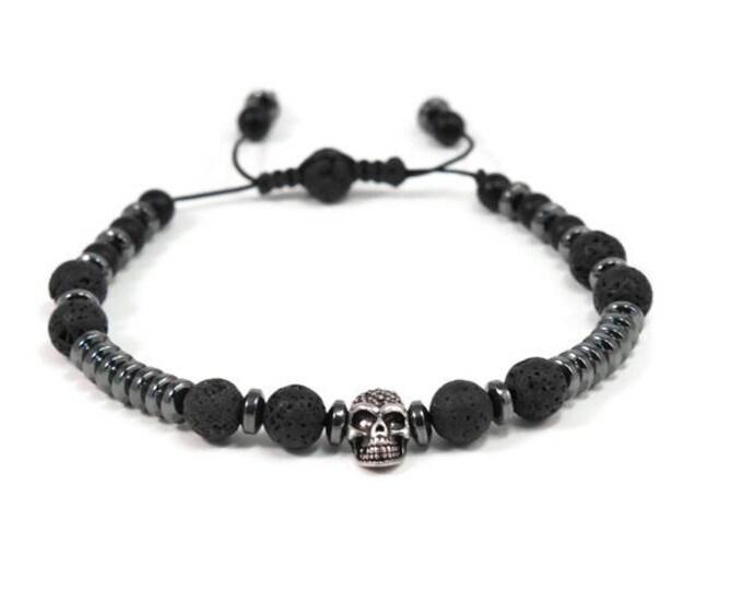 Urban Men's Lava, Onyx & Hematite Pull Tie Single Bracelet. Boho Jewelry. Bohemian Jewelry. Ideas for him. Gift for him.