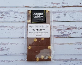 Hazelnut milk chocolate bar. Handmade from Belgian chocolate. .