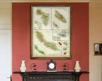"""Map of Dutch Antilles 1914, Old map of Aruba, Curacao, St Maarten, in 4 sizes up to 36x48"""" (90x120 cm) Also in blue - Limited Edition of 100"""