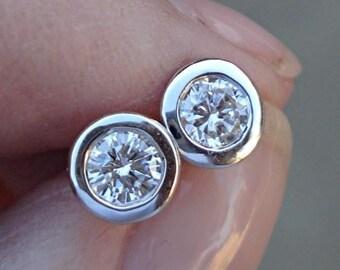 14K White Gold Diamond Bezel Solitaire Stud Earrings -  0.46 Carat