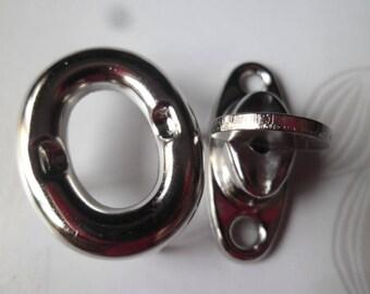 x 2 sets for purse Twist lock clasps silver 33 x 25 mm (B)