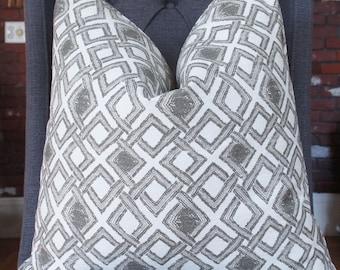 Handmade Pillow, Decorative Pillow, Geometric Pillow, Gray Pillow, Throw Pillow, Toss Pillow, Home Decor, Home Furnishing, Made in USA
