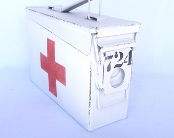 Red Cross FIRST AID BOX/ Upcycled Ammo Box