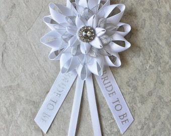 Bride to Be Pin, Bride Corsage, Bride to Be Gift, Bridal Shower Decorations, Bride to Be Ribbon, Bachelorette Party Decor, New Bride Gift