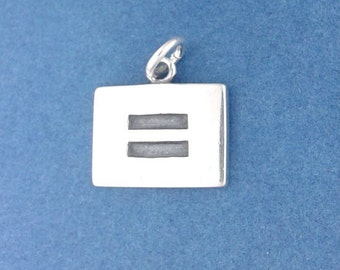 EQUALITY Symbol  Sign Charm .925 Sterling Silver LGBT Gay Rights Pendant - d53908