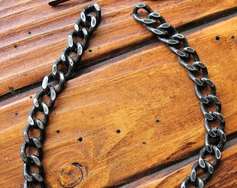 Blackened Steel Curb Chain Segment with Toggle Clasp - 10 inches in length