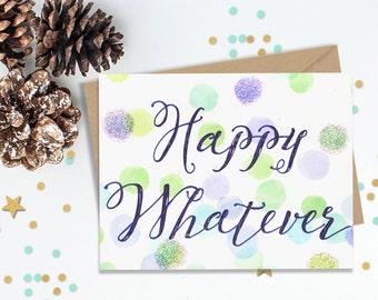 Christmas Card, Holiday Cards, Funny Holiday Card, Hunukkah Card, White Elephant Gift, Funny Christmas Card, Seasons Greetings, Glitter Card