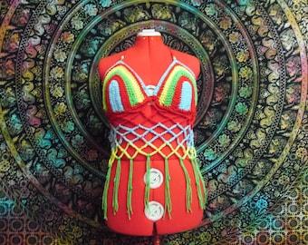 Crochet Rainbow Beaded Festival Top