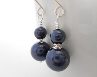Navy Blue Pearl Beaded Drop Earrings, Navy Blue Swarovski Crystal Pearl Earrings, Navy Wedding, Bridal Jewelry, Silver Dangle Earrings