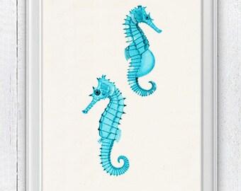 Seafoam seahorses Mr and Mrs Seahorse  - Bathroom Wall decor poster  , bathroom wall decoration SAS053