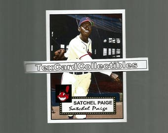 Satchel Paige Cleveland Indians 1952 Style Custom Made Baseball Card 3 3/4 x 2 5/8. Mint condition.