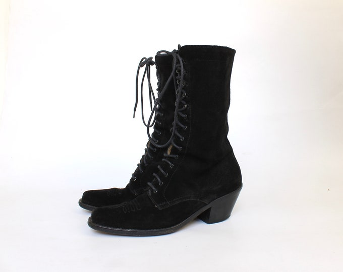 Joan and David Suede Lace Up Western Grannie Boots // Vintage Designer Low Heel Booties // Womens Shoes Size 6.5 // Eu 36.5