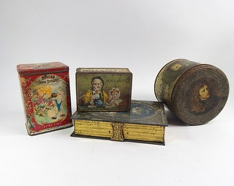4 Antique and Vintage French Tins Instant Collection!