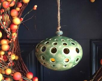 Handmade ceramic sphere shape luminary