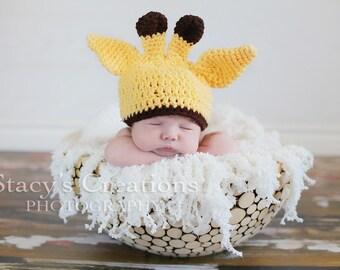 Crochet Newborn Baby Giraffe Hat, Newborn Giraffe Hat, Baby Animal Hat, Baby Halloween Hat, Baby Shower Gift, Newborn Baby Photo Prop