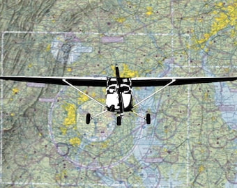 Cessna 172 Print on Sectional Map 4x6