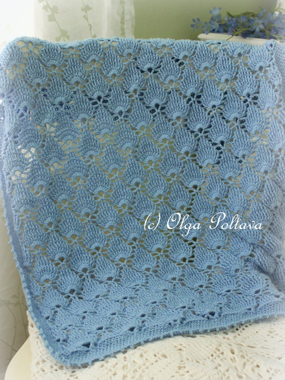 Blue Lace Baby Blanket Crochet Pattern Summer Newborn Afghan
