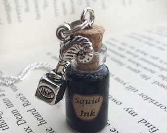 Squid Ink Bottle Necklace / Pendant / Bookmark / Earrings / Decoration / Keyring inspired by Once Upon A Time