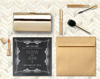 Art Deco Save The Date Cards / Elegant Chalkboard Card Gatsby Inspired for Art Deco Weddings / PRINTED 6x6 Square Save-The-Date Cards