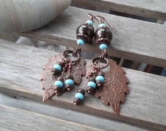 Bohemian Copper Leaf Dangles | Long Brown, Blue & Antique Copper Earrings