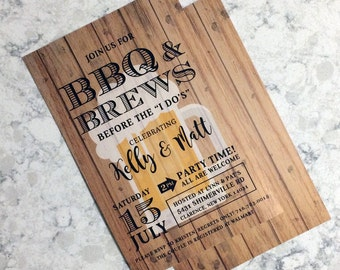 BBQ & BREWS | Couples Shower Invitation BEER, Digital File, Printable
