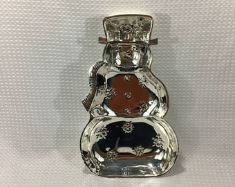 """Towle 15"""" Silver Plate Snowman Christmas Holiday Winter Platter Serving Dish"""