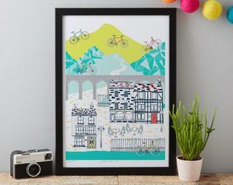 Cycling art print - Cycle Print - Bike Art - Gift for him - Gift for Cyclist - Cycling Gift - Gift for Dad - Cycling art - Bicycle art