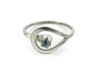 Vintage Avon Ring, Blue Rhinestone, Silver Tone, Signed, Size 7, STD58
