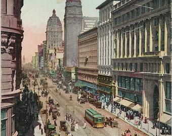 San Francisco California Market Street near Powell Street Vintage Postcard 1915