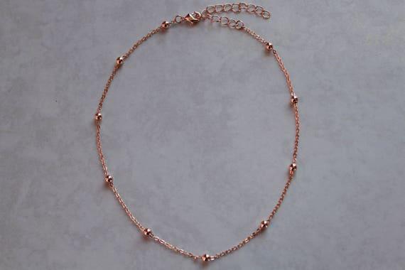 Rose gold beads chokersatellite chain chokerrose gold beads