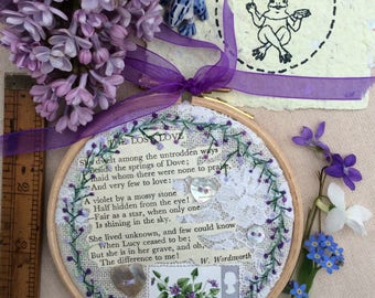 Hand Embroidered  Hoop Art - Wordsworth and Violets