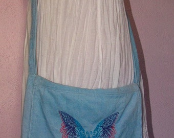 Ombre Butterfly Blue Corduroy Messenger Bag Machine Embroidered Pockets Pink Purple