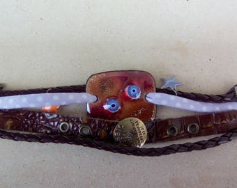 Enamels on copper connector and brown leather Cuff Bracelet