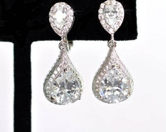 Handmade Pear Cubic Zirconia CZ Waterdrop Dangle Clip-On Bridal Earrings, Bridal, Wedding (Sparkle-2412)
