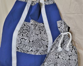 Blue Tote Bag with Matching Cinch Sack