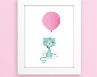 Girl nursery art - Cat and balloon nursery print, cat nursery, cute nursery print, cute girl art, pink and teal print, pink and teal nursery