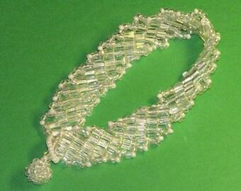 Clear Cube Beadwoven Bracelet